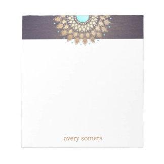 Elegant Gold Lotus Mandala Yoga Teacher Notepad