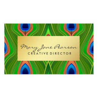 Elegant Gold Luxe Blue Green Peacock Business Card