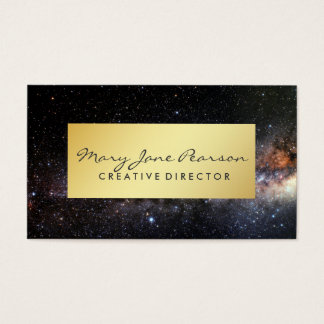 Elegant Gold Luxe Milky Way Nebula Galaxy Universe Business Card