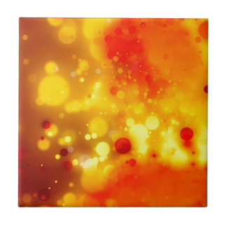 Elegant Gold Luxe Red and Yellow Watercolor Tile