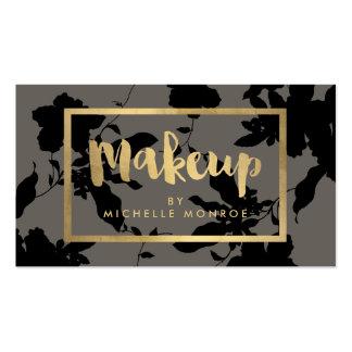 Elegant Gold Makeup Text on Black Floral Business Card