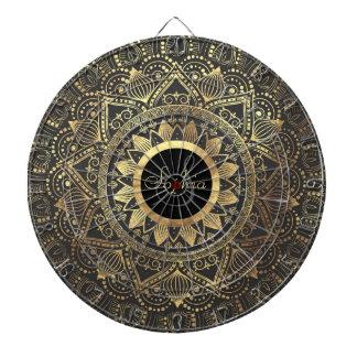 Elegant gold mandala artwork dartboard with darts