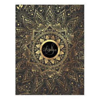 Elegant gold mandala artwork postcard