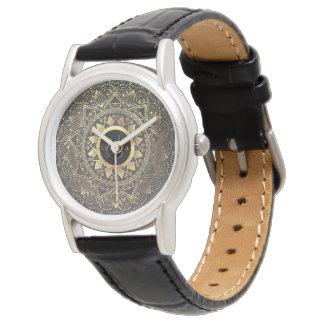 Elegant gold mandala artwork wrist watch