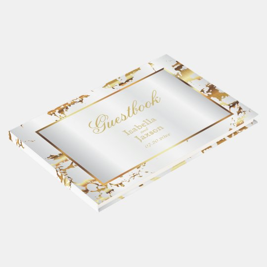 Elegant Gold Marble and White Satin Guestbook