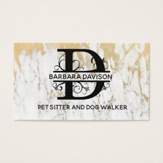 Elegant Gold Marble Letter D Business Card