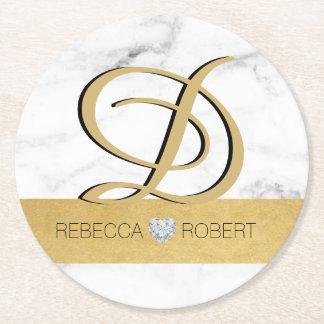 Elegant gold marble wedding gift favors - Monogram Round Paper Coaster