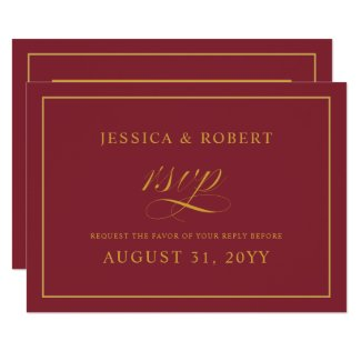 Elegant Gold Merlot Burgundy Wedding RSVP Card