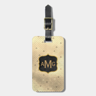Elegant Gold Mermaid Scallops Monogrammed Initials Luggage Tag