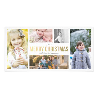 Elegant Gold Merry Christmas 5 Collage Photocard Card