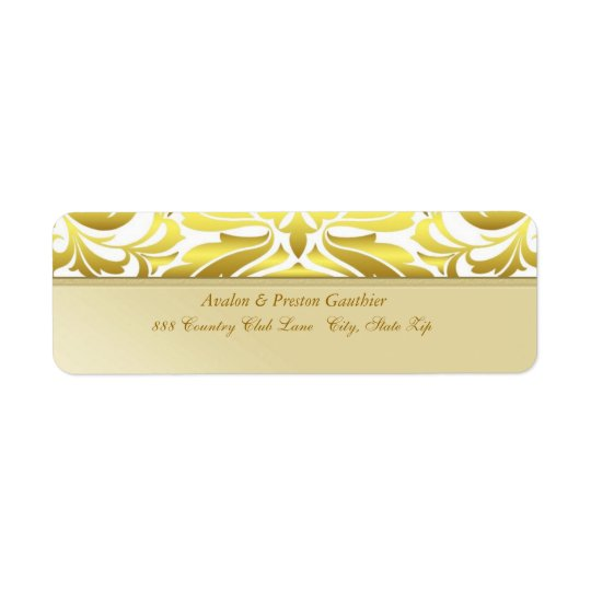 Elegant Gold Metal Damask Wedding Address Label