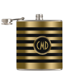Elegant Gold Metallic Stripes Black background Hip Flask