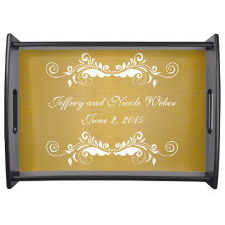 Elegant Gold Metallic Wedding Party Serving Tray