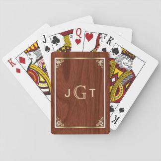 Elegant Gold Monogram Initials | Custom Wood Grain Playing Cards
