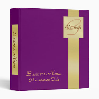 Elegant Gold Monogram Purple Business Binder
