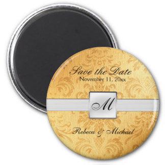 Elegant Gold Monogram Save the Date Magnets
