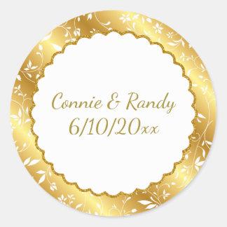 Elegant Gold Monogram Wedding Sticker
