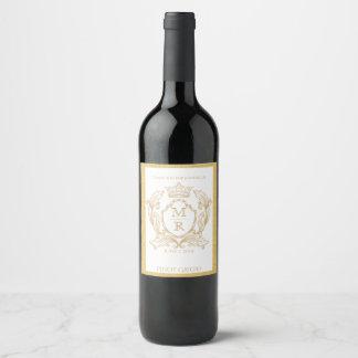 Elegant Gold Monogram Wedding Wine Label