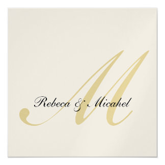 "Elegant Gold Monogram Wedding (with wording) 5.25"" Square Invitation Card"