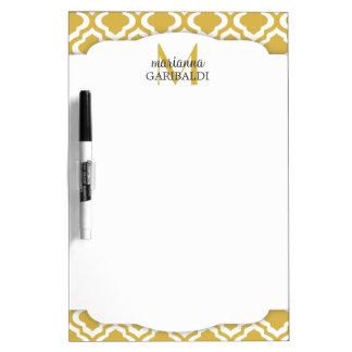 Elegant Gold Moroccan Quatrefoil Personalized Dry Erase Board