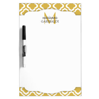 Elegant Gold Moroccan Quatrefoil Personalized Dry Erase Whiteboard