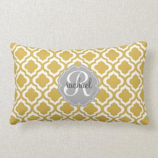 Elegant Gold Moroccan Quatrefoil Personalized Lumbar Pillow