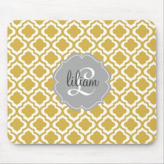 Elegant Gold Moroccan Quatrefoil Personalized Mouse Pad