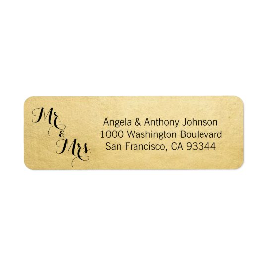 Elegant Gold Mr. & Mrs. Wedding Return Address