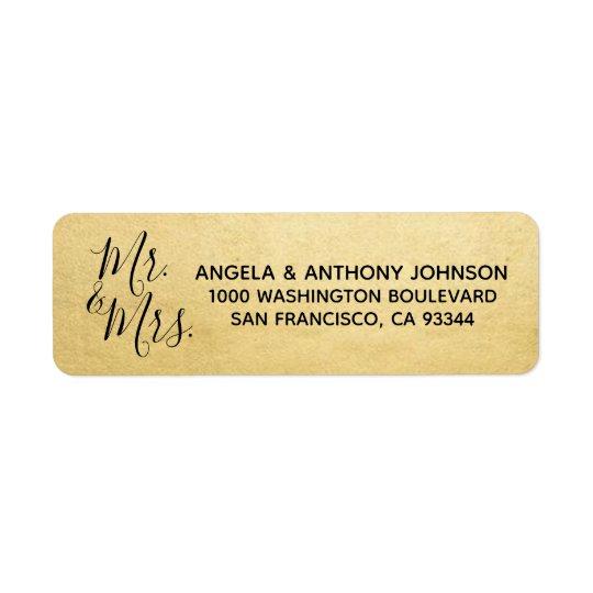 Elegant Gold Mr. & Mrs. Wedding Return Address