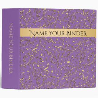 Elegant Gold Music Notes Purple Binder