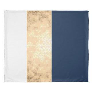 elegant gold navy blue white stripes monogram duvet cover