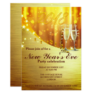 Elegant Gold New Year`s Eve Party Invite