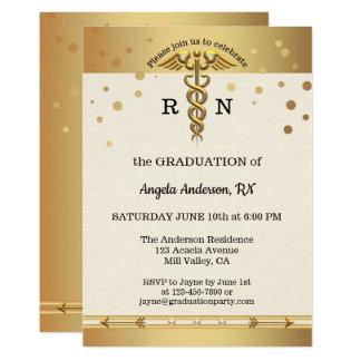 Elegant Gold Nursing School Graduation Invitation