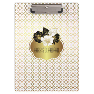 Elegant Gold on White Quatrefoil Pattern Clipboard