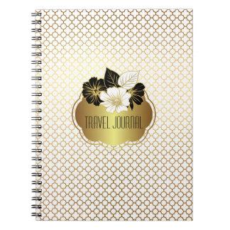 Elegant Gold on White Quatrefoil Pattern Notebook