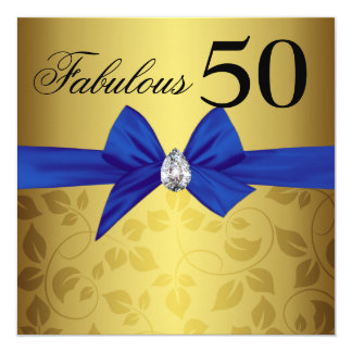 Elegant Gold Ornamental Bow Gem Fabulous Fifty Card