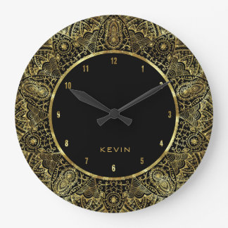 Elegant Gold Ornante Lace Circle Frame Wallclock
