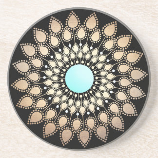 Elegant Gold Ornate Lotus Mandala Beverage Coasters