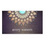 Elegant Gold Ornate Lotus Mandala Wood Look Business Card Templates