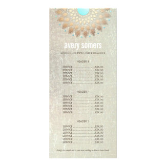 Elegant Gold Ornate Lotus Mandala Wood Price List Rack Card