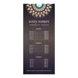 Elegant Gold Ornate Lotus Mandala Wood Price List Rack Card Template