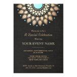 "Elegant Gold Ornate Motif Black Linen Look Formal 5"" X 7"" Invitation Card"