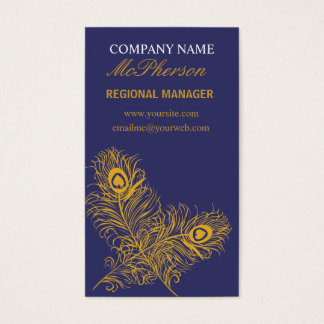 Elegant Gold Peacock Feathers Business Card