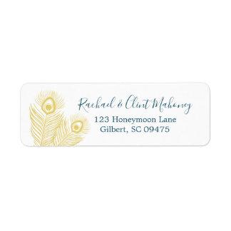 Elegant Gold Peacock Return Address Labels