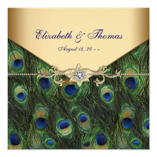 "Elegant Gold Peacock Wedding 5.25"" Square Invitation Card"