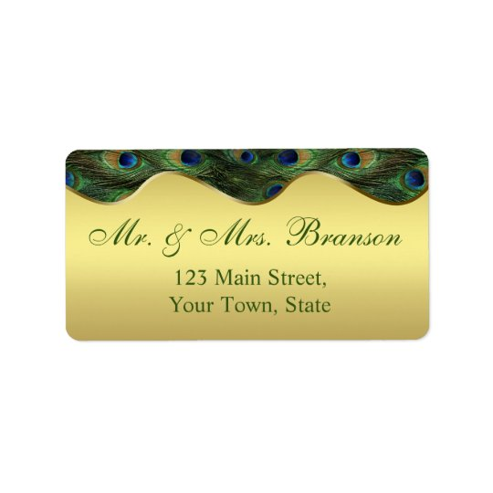 Elegant Gold Peacock Wedding Monogram Label