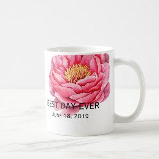 Elegant Gold & Peonies Floral Wedding Coffee Mug