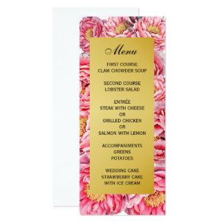 "Elegant Gold & Peonies Floral Wedding Menu 4"" X 9.25"" Invitation Card"
