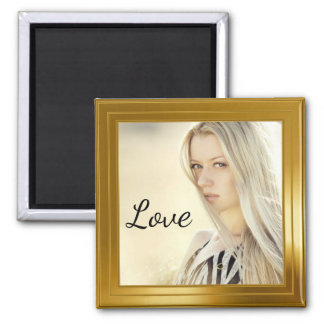 Elegant Gold Photo Frame Square Magnet