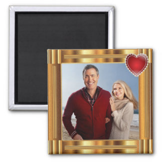 Elegant Gold Photo Red Heart Frame Square Magnet
